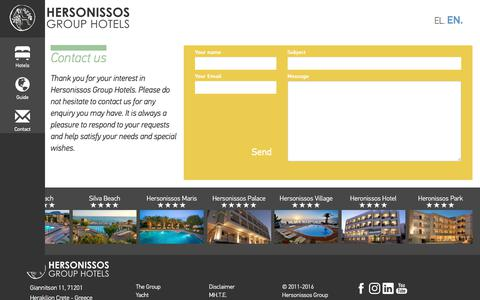 Screenshot of Contact Page hersotels.gr - Contact us -  Hersonissos Group Hotels - captured Aug. 11, 2017