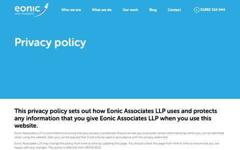 Screenshot of Privacy Page eonic.com - Privacy policy - captured Sept. 28, 2018