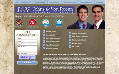 Screenshot of Home Page jaxaccidentattorney.com - Jacksonville Auto Accident Attorney Chris Johns & Associates - captured Oct. 2, 2014