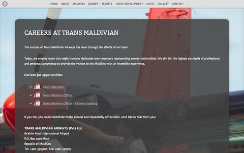 Screenshot of Jobs Page transmaldivian.com - Careers at Trans Maldivian - - captured Sept. 19, 2014