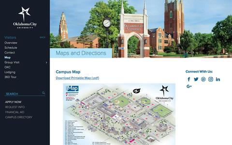 Screenshot of Maps & Directions Page okcu.edu - Map - Oklahoma City University - captured Nov. 7, 2016