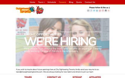 Screenshot of Jobs Page citysightseeingtoronto.com - Careers | City Sightseeing Toronto - captured July 18, 2018