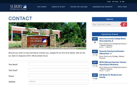 Screenshot of Contact Page surry.edu - Email Us | Surry Community College | surry.edu - captured Oct. 7, 2014