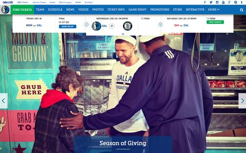 Screenshot of Home Page mavs.com - Home - Official Website of the Dallas Mavericks - captured Dec. 23, 2015