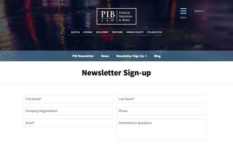 Screenshot of Signup Page piblaw.com - Newsletter Sign-up: PIB Law - captured Sept. 26, 2018