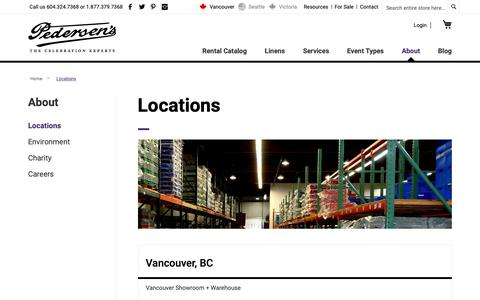 Screenshot of Contact Page Locations Page pedersens.com - Locations - captured Sept. 27, 2018