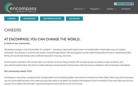 Screenshot of Jobs Page encompasscs.org - Careers - Encompass Community Services - captured Dec. 17, 2018