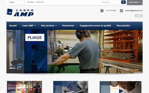 Screenshot of Home Page laseramp.com - Accueil - Découpe Laser - captured Oct. 1, 2014