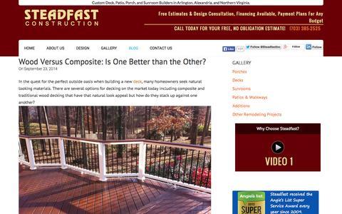 Screenshot of Blog steadfastinc.com - Deck Building, Patio Design & Outdoor Blog- Steadfast Construction - captured Oct. 7, 2014
