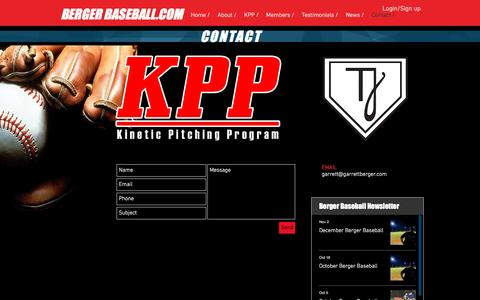 Screenshot of Contact Page garrettberger.com - Berger Baseball Contact - captured Nov. 26, 2016