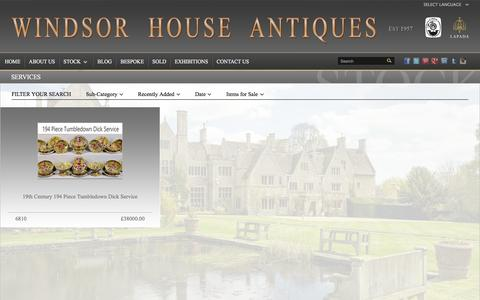 Screenshot of Services Page windsorhouseantiques.co.uk - Services - Windsor House Antiques - captured Jan. 13, 2016