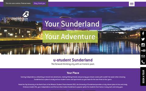 Screenshot of Locations Page u-student.com - Student Accommodation Sunderland | u-student - captured Oct. 1, 2018