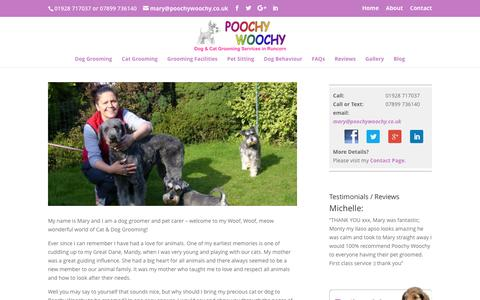 Screenshot of About Page poochywoochy.co.uk - Poochy Woochy dog groomer Runcorn | professional pet care services - captured July 14, 2016