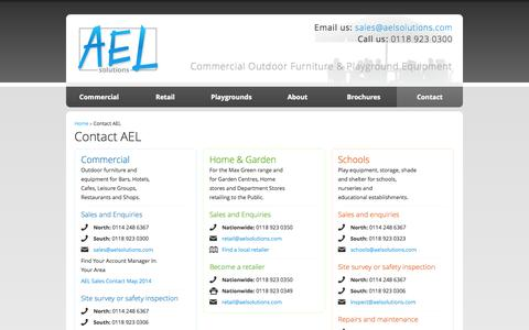 Screenshot of Contact Page aelsolutions.com - Contact AEL, Outdoor Furniture & Equipment, Commercial Outdoor Leisure Solutions   AEL Commercial Outdoor Furniture and Playground Equipment - captured Oct. 3, 2014
