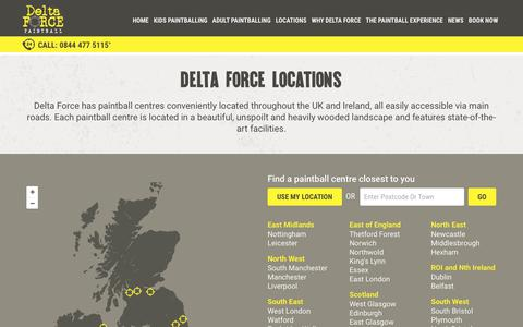 Screenshot of Locations Page paintballgames.co.uk - Delta Force Paintball – Over 45 UK Paintballing Locations - captured Aug. 21, 2017