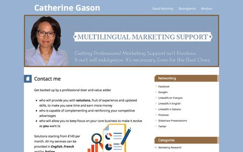 Screenshot of Contact Page catherinegason.com - Catherine Gason, Trilingual Virtual Assistant and Marketer. Contact. - captured Sept. 29, 2014