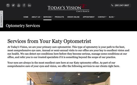 Screenshot of Services Page tvcincoranch.com - Today's Vision Cinco Ranch - Optometrist in Katy, Texas - captured Oct. 26, 2017