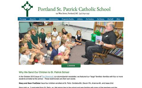 Screenshot of Testimonials Page portlandstpats.com - Portland St. Patrick Catholic School - Testimonials - captured May 31, 2016