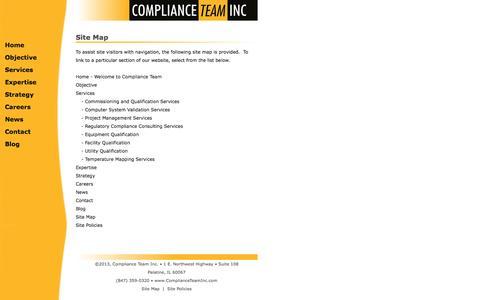 Screenshot of Site Map Page complianceteaminc.com - Site Map - captured Sept. 29, 2014