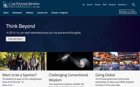 Screenshot of Home Page case.edu - Case Western Reserve University - captured Jan. 14, 2015