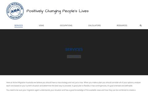Screenshot of Services Page activemigration.com.au - Services - Active Migration Australia - captured March 22, 2019