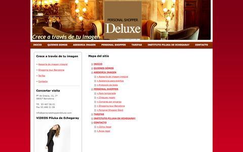 Screenshot of Site Map Page personalshopperdeluxe.com - Personal Shopper Deluxe, tu asistente de compras - Asesoría de imagen personal en Barcelona - captured Sept. 29, 2014