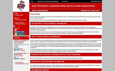 Screenshot of Privacy Page epcrusaders.org - East Paterson / Elmwood Park United Alumni Association - Privacy Policy - captured Oct. 21, 2018
