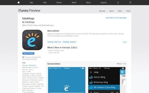 Screenshot of iOS App Page apple.com - Edublogs on the App Store - captured Nov. 11, 2015