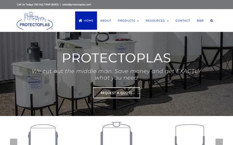 Screenshot of Home Page protectoplas.com - Protectoplas - The One Stop Shop For Quality Industrial Mixing Tanks - captured Sept. 29, 2018