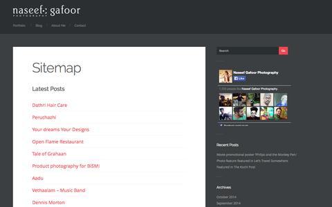 Screenshot of Site Map Page naseefgafoor.com - Sitemap - Naseef Gafoor Photography - captured Oct. 27, 2014