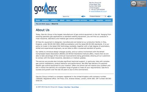 Screenshot of About Page gas-arc.co.uk - About Gas-Arc manufacturers of Gas Control and Gas Regulator Products - captured Oct. 2, 2014
