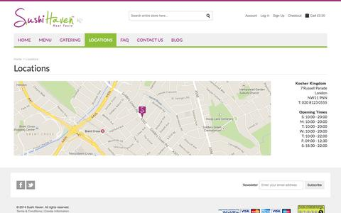 Screenshot of Locations Page sushihaven.co.uk - Sushi Haven |  Locations - captured Sept. 30, 2014