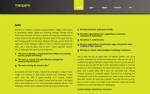Screenshot of Home Page tandemmarketing.ca - Tandem Marketing Design Calgary || Not your typical agency, Tandem Marketing Design is a Calgary branding and design boutique that specializes in strategy, advertising, design & identity. - captured Oct. 6, 2014