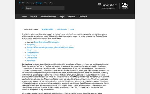 Terms & conditions | Global | Investec Asset Management
