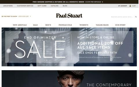 Screenshot of Home Page paulstuart.com - Paul Stuart - Fine Men's & Women's clothing - captured Feb. 5, 2016
