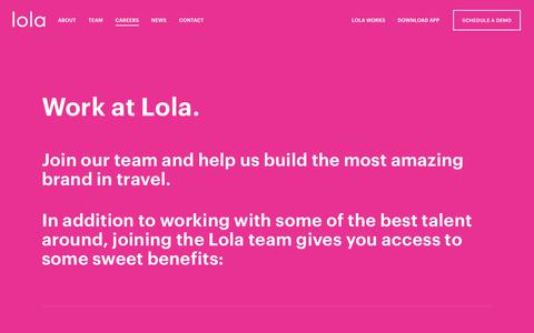 Screenshot of Jobs Page lola.com - Lola: Work with us - captured July 10, 2018