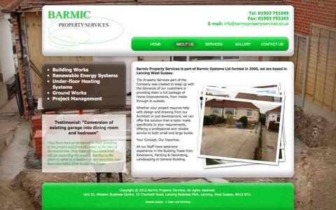 Screenshot of About Page barmicpropertyservices.co.uk - Lancing based property services company that promises a first class home improvement service and an excellent standard of work. Barmic Property Services - about us - captured March 3, 2016