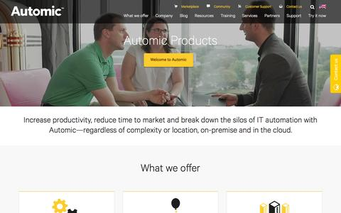 Screenshot of Products Page automic.com - Automic Products | Automic Software - captured Dec. 26, 2016