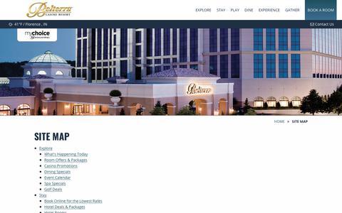Screenshot of Site Map Page belterracasino.com - Belterra Site Map | Belterra Casino Resort - captured Nov. 13, 2018