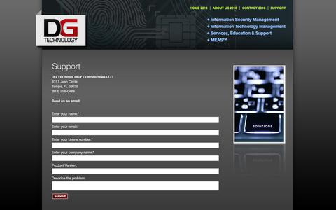 Screenshot of Support Page dgtechllc.com - DG Technology Consulting - captured July 19, 2018