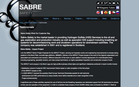Screenshot of Testimonials Page sabreh2s.com - Testimonials - Sabre Safety Sabre Safety - captured Nov. 2, 2014