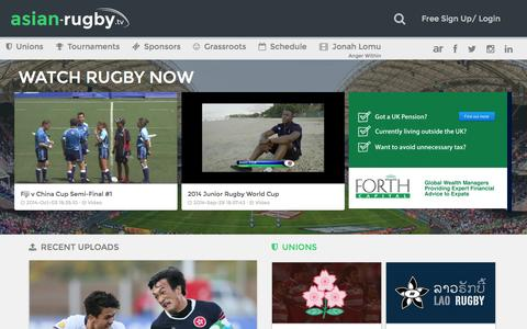 Screenshot of Home Page asian-rugby.tv - Asian-Rugby TV · Enjoy Rugby from around the 	world! - captured Oct. 4, 2014