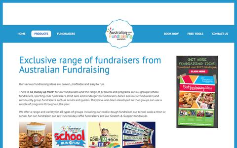 Screenshot of Products Page australianfundraising.com.au - Proven, Profitable Fundraising Products & Fundraising Ideas - captured May 31, 2017