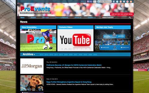 Screenshot of Press Page proevents.com - ProEvents > News - captured Oct. 2, 2014
