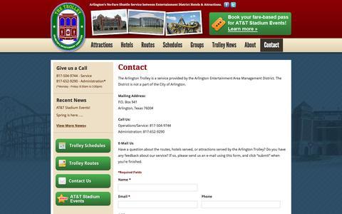 Screenshot of Contact Page arlingtontrolley.com - Contact - Southeast Tarrant Transportation Partnership - captured March 26, 2016