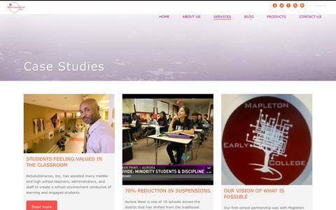 Screenshot of Case Studies Page resolutionariesinc.com - Case Studies | ReSolutionaries, Inc. to Prevent, Resolve, Transform Conflict - captured Oct. 20, 2018
