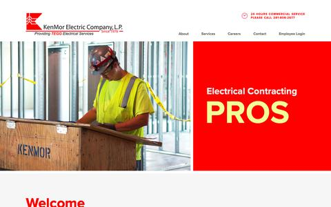 Screenshot of Home Page kenmor.com - Home - KenMor Electric - captured Oct. 15, 2018