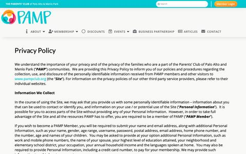 Screenshot of Privacy Page pampclub.org - Privacy Policy | PAMP Club - captured Nov. 16, 2018