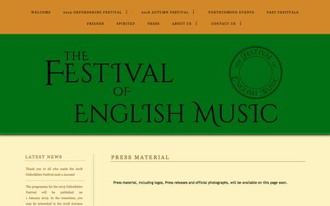 Screenshot of Press Page englishmusicfestival.org.uk - The English Music Festival | PRESS MATERIAL - captured July 19, 2018