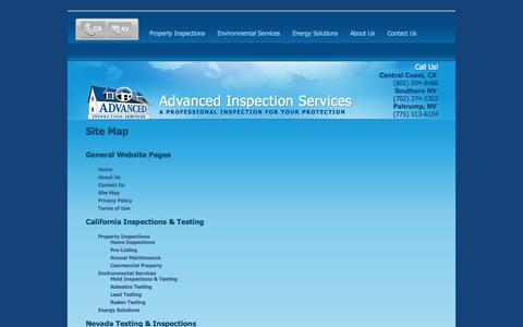 Screenshot of Site Map Page advinspect.com - Site Map | Advanced Inspection Services - captured Oct. 4, 2014